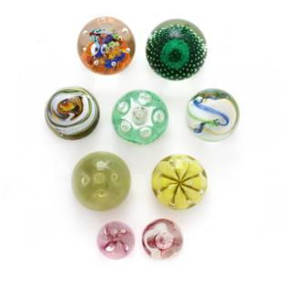 Nine Art Glass Paperweights, including Caithness