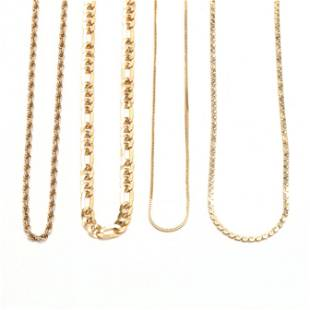 Four Gold Chain Necklaces