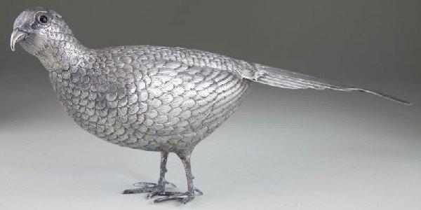 6: Silver Pheasant Table Ornament