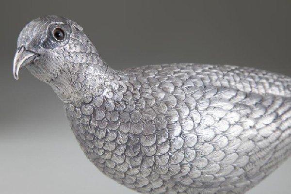 6: Silver Pheasant Table Ornament - 2