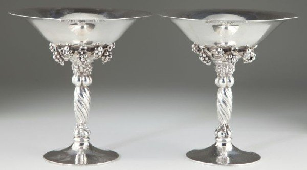 14: Pair of Georg Jensen Sterling Compotes