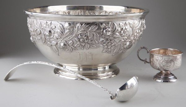 17: S. Kirk & Sons Sterling Punch Bowl and Ladle