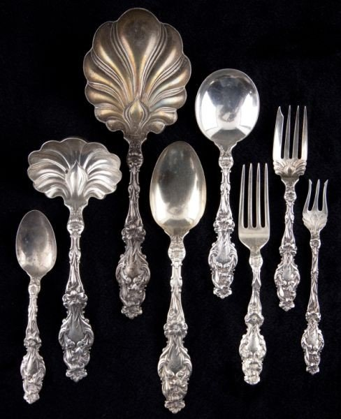 """18: Whiting """"Lily"""" Sterling Silver Flatware"""