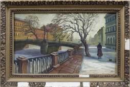 133: Russian School (late 19th c.), Street Scene