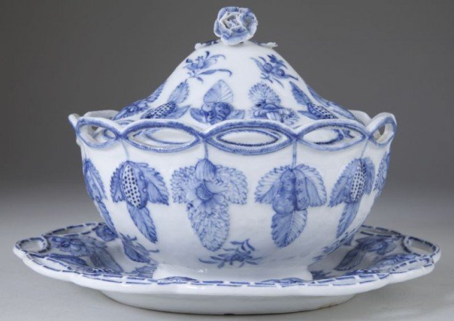 3: English Porcelain Sugar Bowl & Cover with Tray
