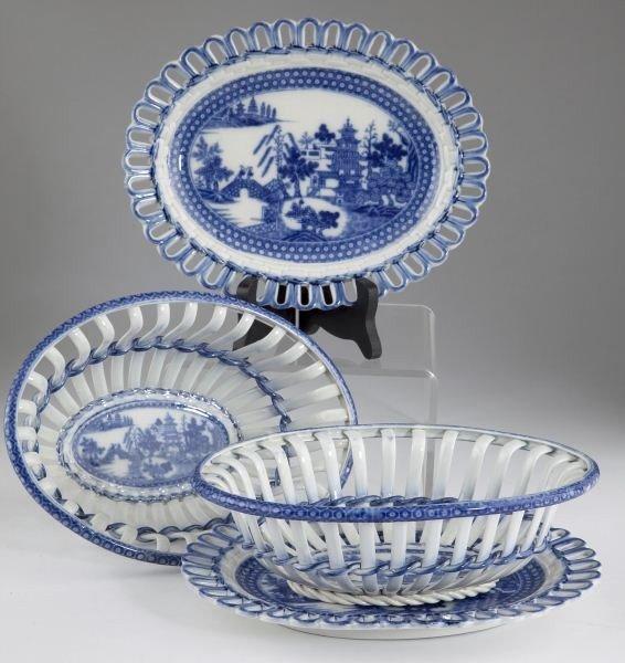 4: Pair of Porcelain Baskets & Undertrays