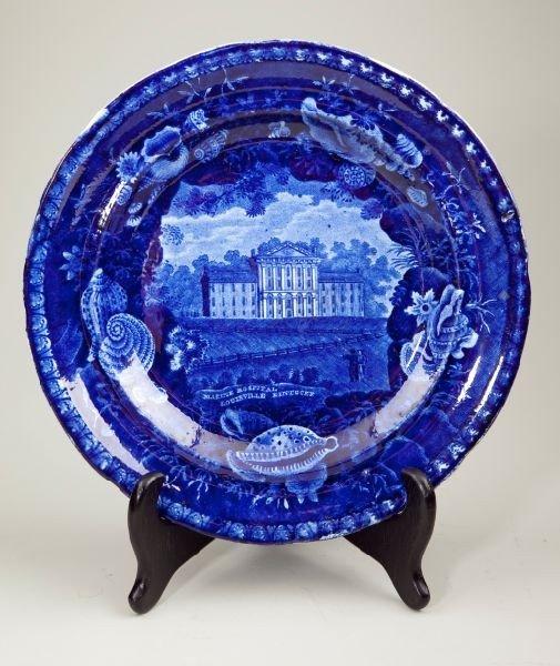 7: Historical Blue Staffordshire Plate, KY Hospital