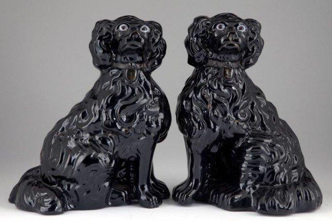 10: Redware Staffordshire Spaniels with Black Glaze