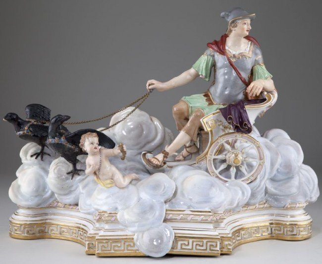 13: Meissen Mythological Chariot Group with Mercury
