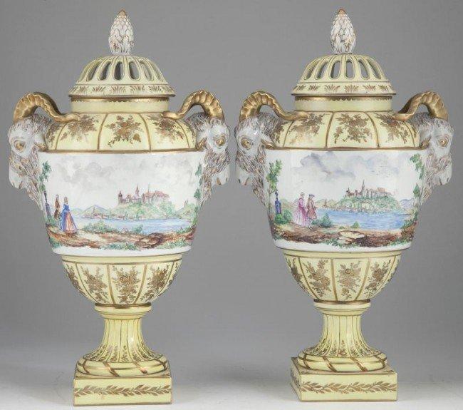 18: Pair of Lidded Dresden Urns