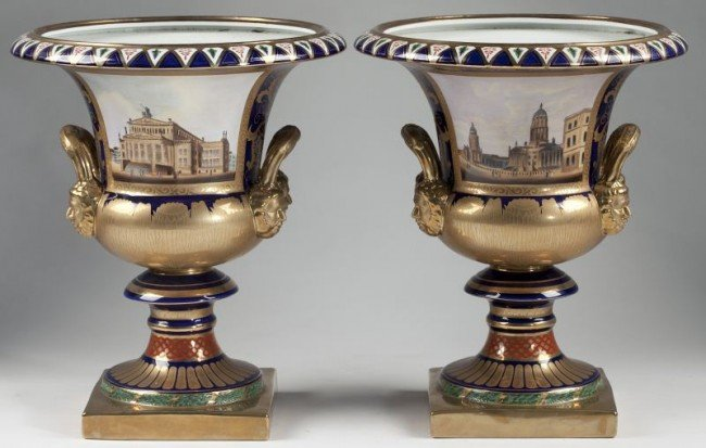 19: Pair of Large Sevres Style Porcelain Urns
