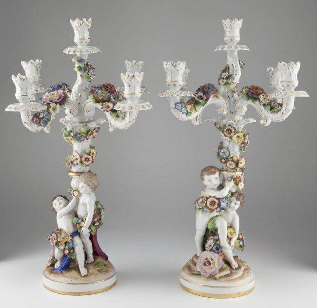 21: Pair of Porcelain Figural Candelabra