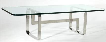 357: Mid Century Chrome and Glass Coffee Table