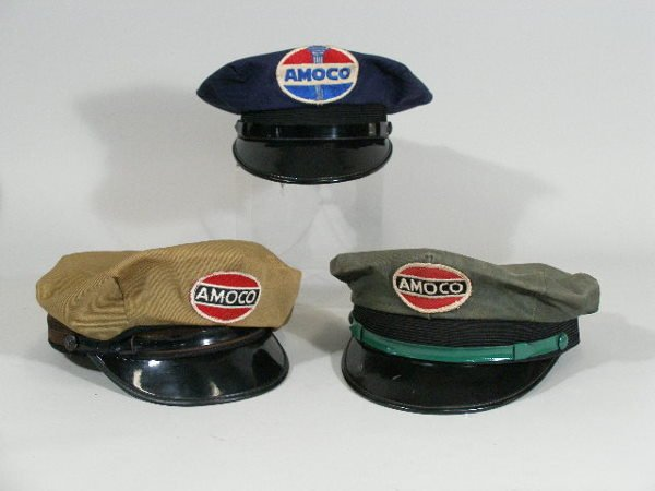 4: Three Vintage Gas Station Attendant Hats, Amoco,