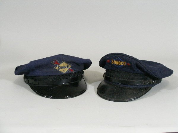two vintage gas station attendant hats sunoco