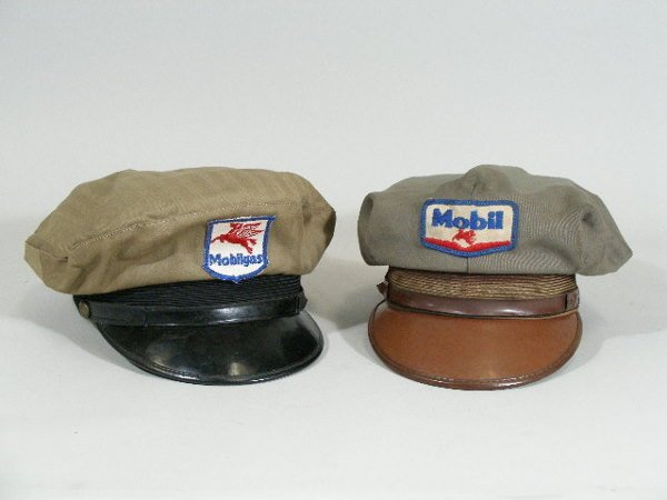 18: Two Vintage Gas Station Hats, Mobil Gas and Mobil