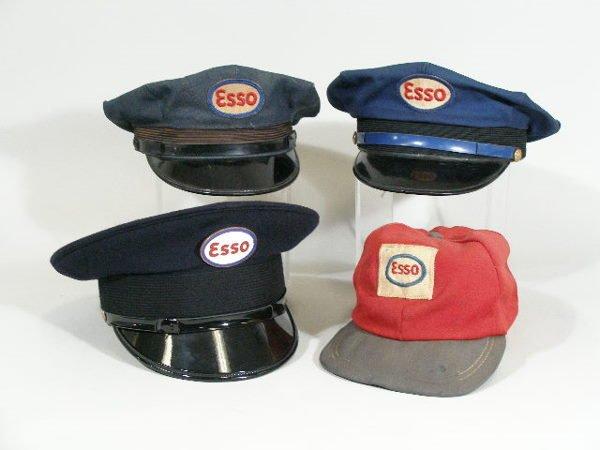 19: Four Vintage Gas Station Attendant Hats, Esso,