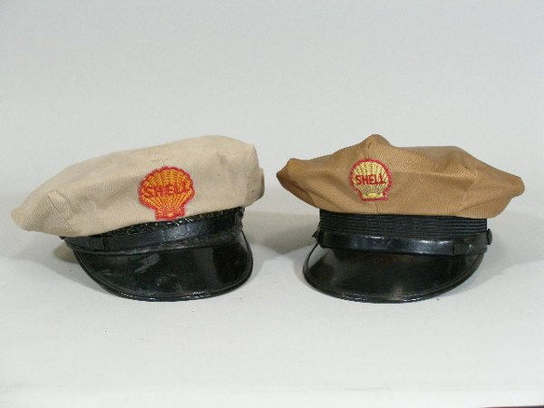 21: Two Vintage Gas Station Attendant Hats, Shell,