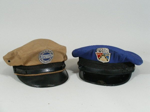 24: Two Vintage Auto Mechanic Hats, Ford and Dodge,