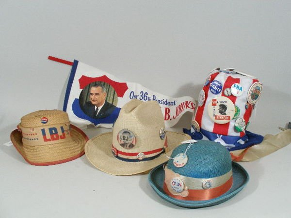 47: Four Vintage Political Hats and LBJ Pennant,