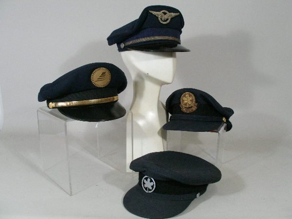 227: Lot of Eight Vintage Foreign Airline Hats,