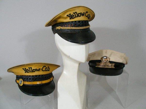 233: Three Vintage  Yellow Cab Driver Hats,