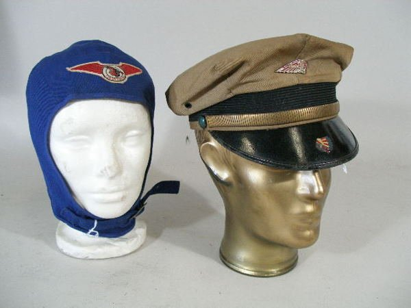 292: Two Vintage Indian Motorcycle Riders Hats,