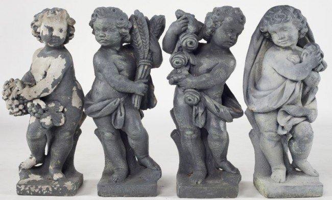 2: Set of Four Cast Stone Garden Figures