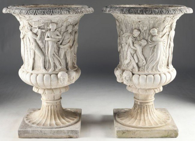 3: Pair of Campana-Form Large Garden Urns