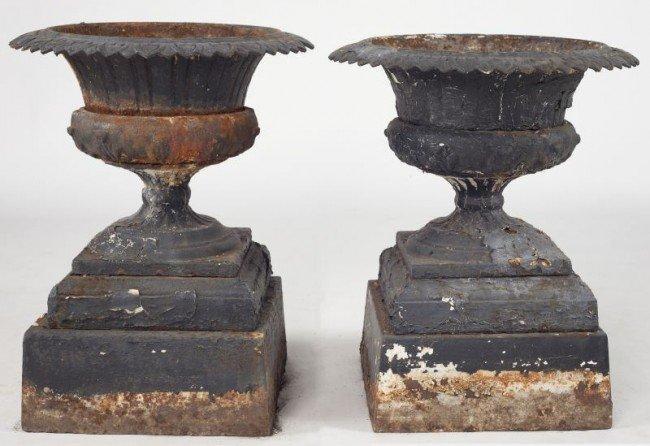 7: Pair of Victorian Cast Iron Garden Urns