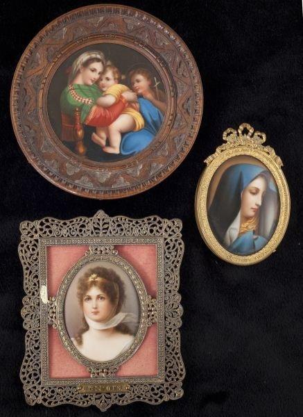 12: Group of Three Miniature Portraits on Porcelain