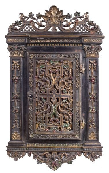 138: Antique German Decorative Hanging Wall Cabinet