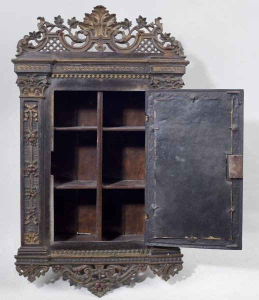 138: Antique German Decorative Hanging Wall Cabinet - 3