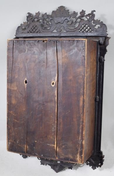 138: Antique German Decorative Hanging Wall Cabinet - 4
