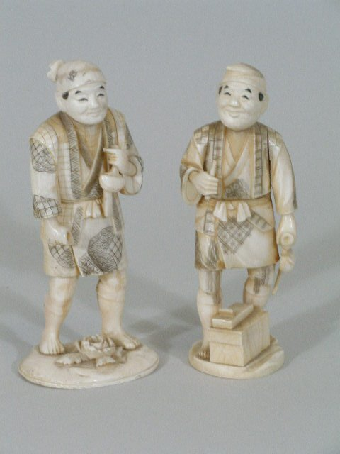 1004: Pair of Carved Ivory Figures, 20th c.,