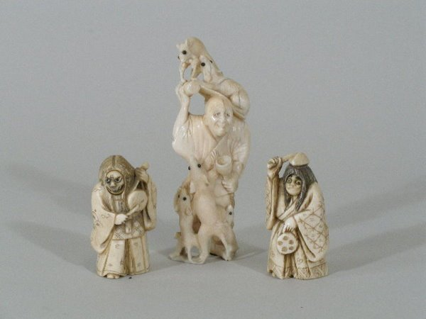 1005: Three Pieces of Ivory, Two are Netsuke, 19th c.,