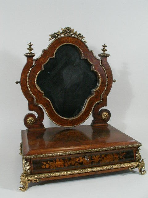 1017: Inlaid Dressing/Shaving Mirror, French,