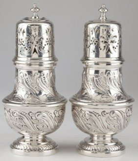 12: Pair of English Sterling Silver Casters