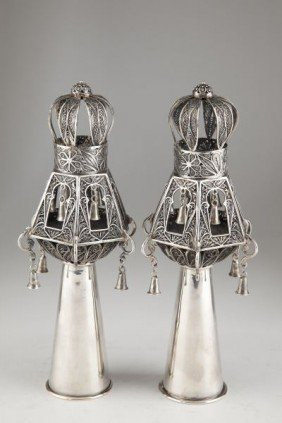 15: Pair of Silver Judaica Torah Finials