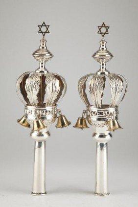 16: Pair of Gilt Silver Torah Finials