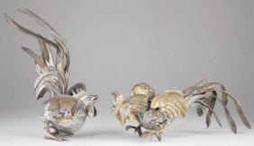 19: Pair of Silver Gilt Cockerel Table Ornaments