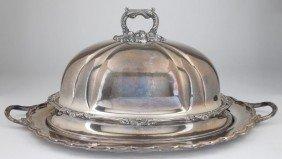 24: English Silverplate Roast Cover, 19th century