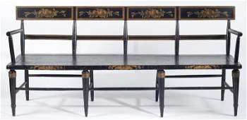 338: American Painted and Stenciled Long Bench