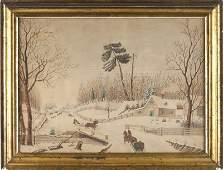 164 American School Watercolor 19th century