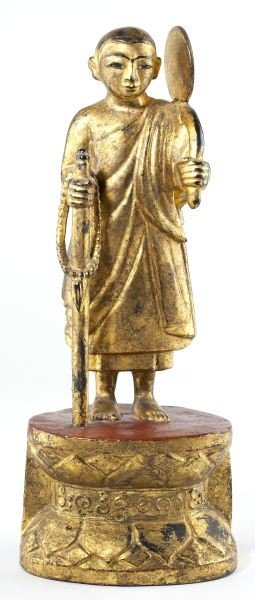 172: Burmese Carved Wooden Traveling Buddha