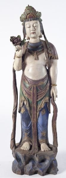 175: Guanyin Compassion, Carved Polychrome Large Figure