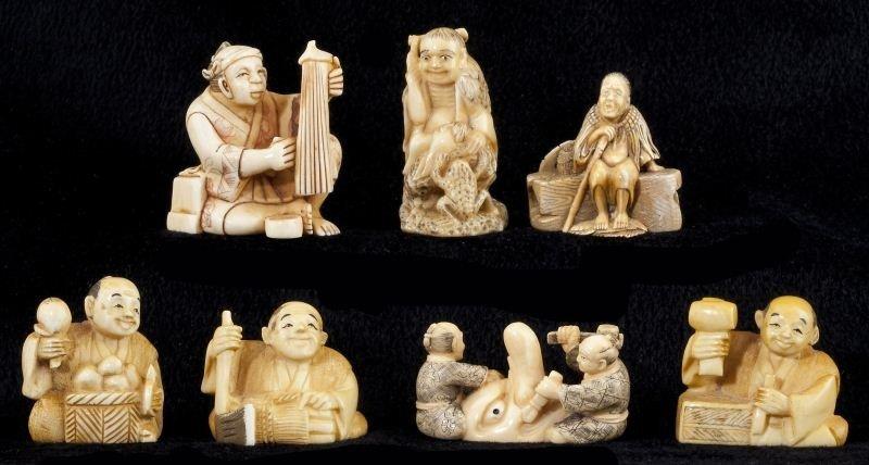180: Group of Seven Japanese Ivory and Bone Netsuke