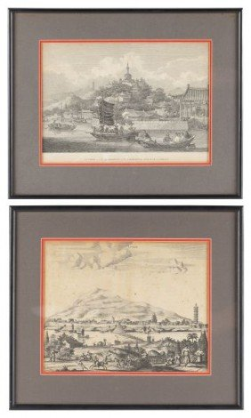 Two Early Copperplate Engravings Of Chinese Views
