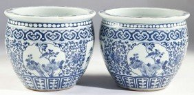 184: Pair of Chinese Blue and White Jardinieres
