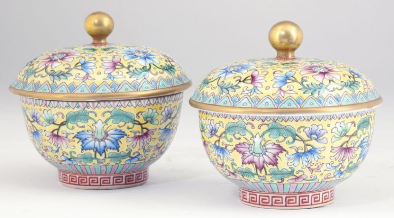 186: Pair of Chinese Famille Rose Lidded Bowls